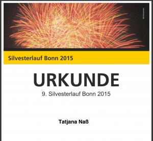 Urkunde Silvesterlauf Bonn