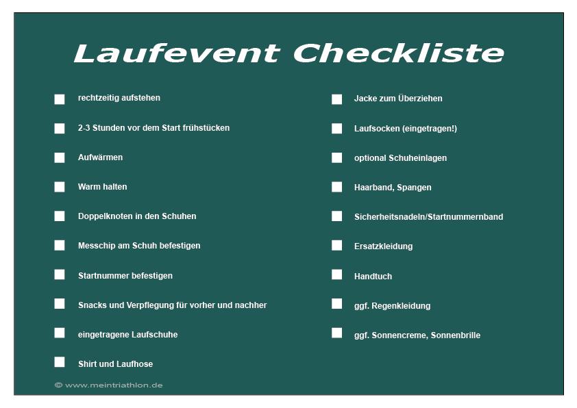 checkliste Laufevents